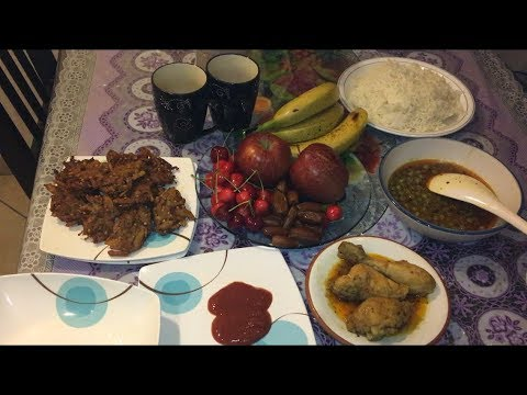 Eating Peas Curry, Chicken Curry, Onion Pakoda with Rice | Ramzan Iftar at Home