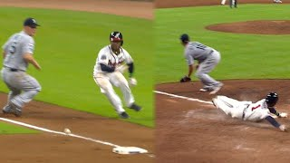 SEA@ATL: Albies crosses the plate on crazy play