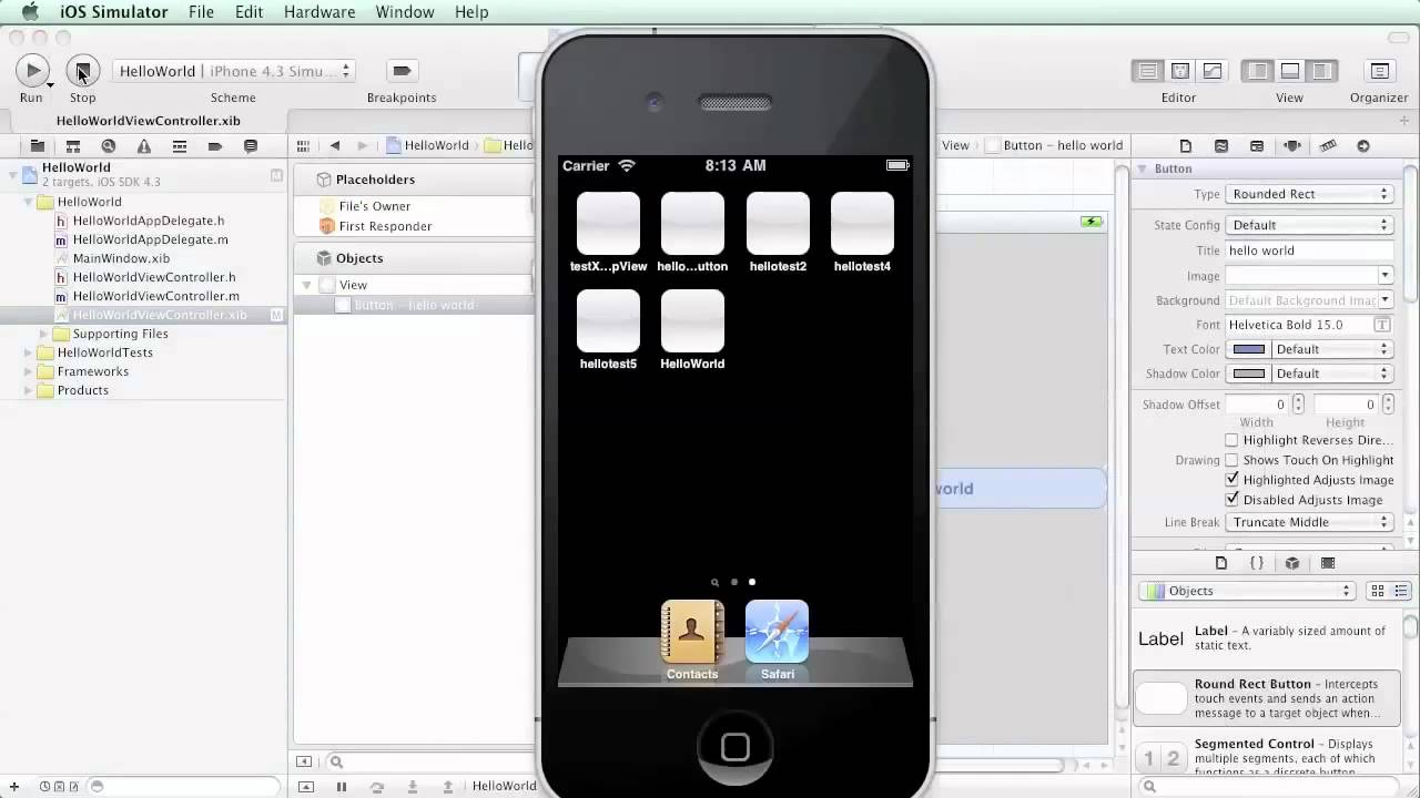 Objective c button background image - Helloworld Part 1 Of 2 Xcode Interfacebuilder Iphone Ios Objective C 10 03