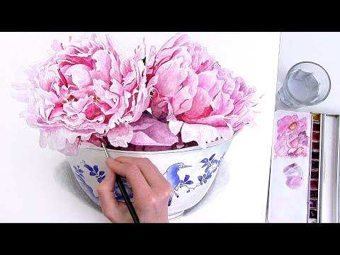 How to paint a curved Chinese bowl in watercolour