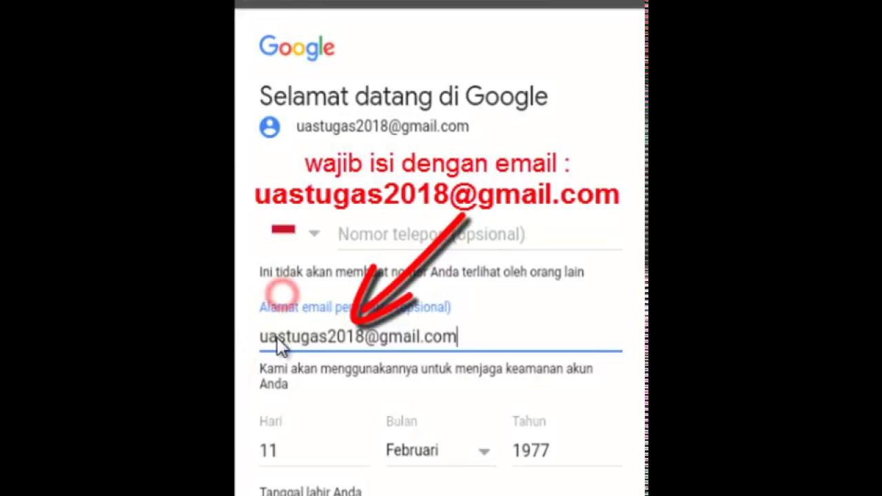 Alamat Email Pemulihan Recovery Email Tugas Membuat Akun Gmail