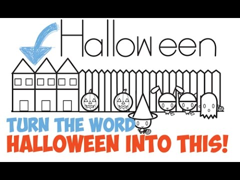 How to Draw Halloween Stuff / Things / Pictures for Kids Word ...