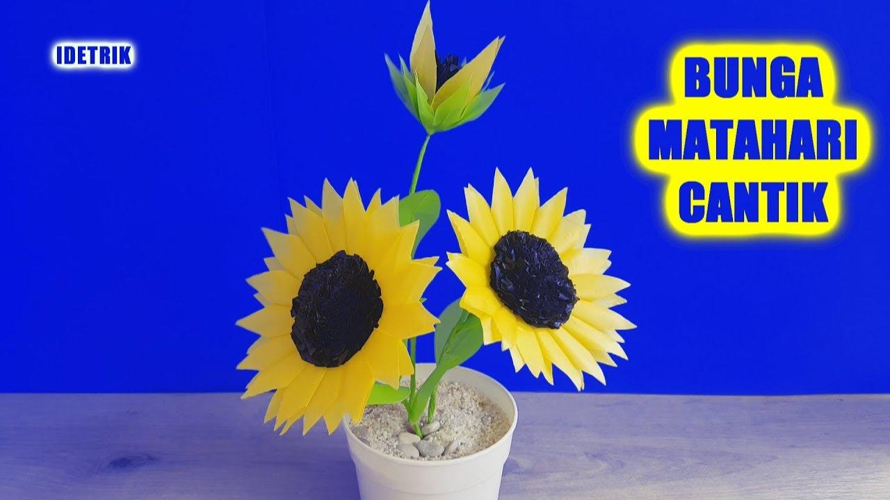Cara Membuat Bunga Matahari Yang Cantik Dari Kantong Plastik Youtube