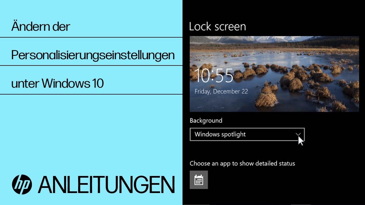 ändern Der Personalisierungseinstellungen Unter Windows 10