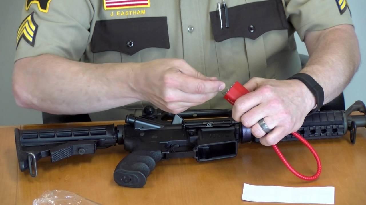 Gun lock demonstration - semi-automatic rifle