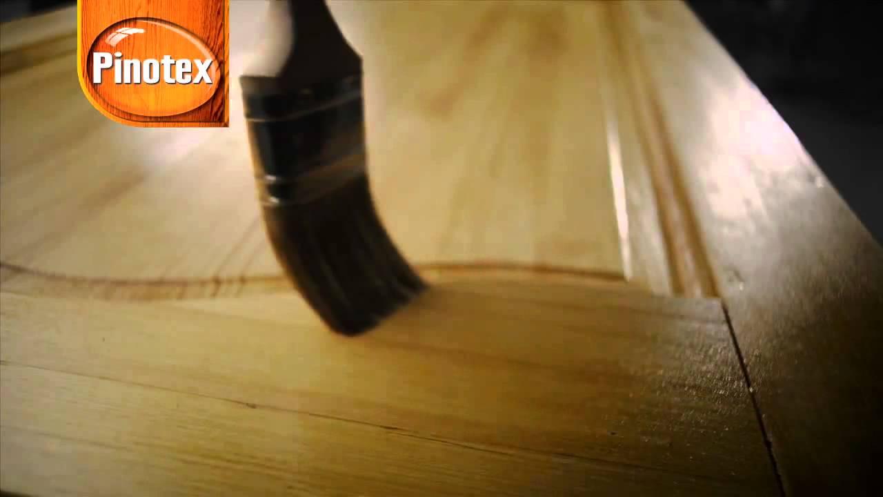 Окрашивание деревянной двери пропиткой Пинотекс Pinotex Interior