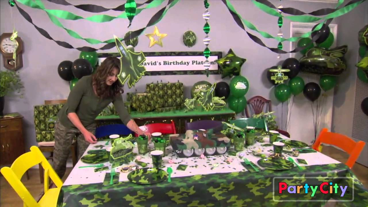 Camo party ideas youtube for Army theme party decoration ideas