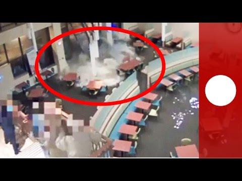 Video: Flash floods crash through hospital's cafeteria windows in Kearney, Nebraska