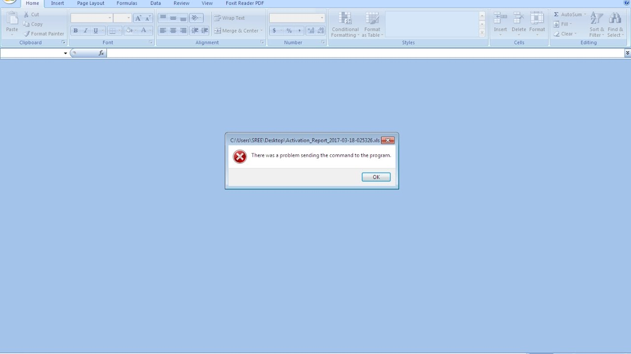 excel 2010 error problem sending the command to the program