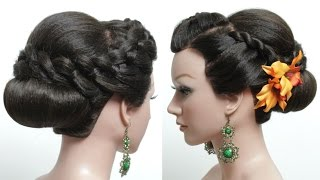 Bridal hairstyle for long hair tutorial. Wedding updo with braids step by step