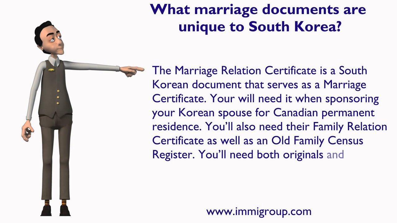 South korean marriage certificate