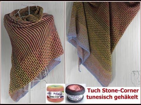 Tuch Stone Corner Einfach Tunesisch Häkeln Youtube