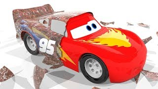 Old Lightning Mcqueen Cars 3 Painting with Thor Wooden Hammer Become New Colors Learn For Kids Finge