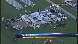 High winds collapse wedding tent