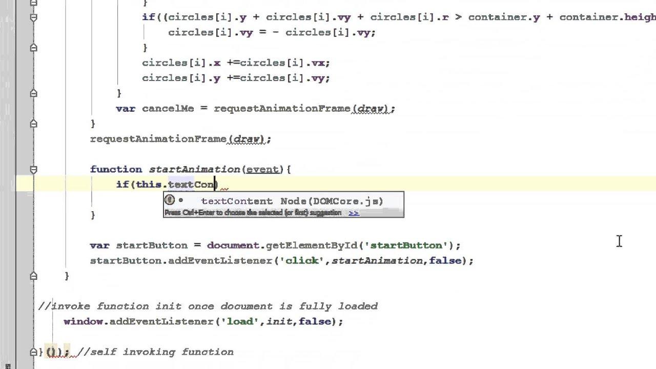 Javascript Tutorial  Html5 Canvas  Animation Start Stop Control  Hit &  Reflect Animation Part 53