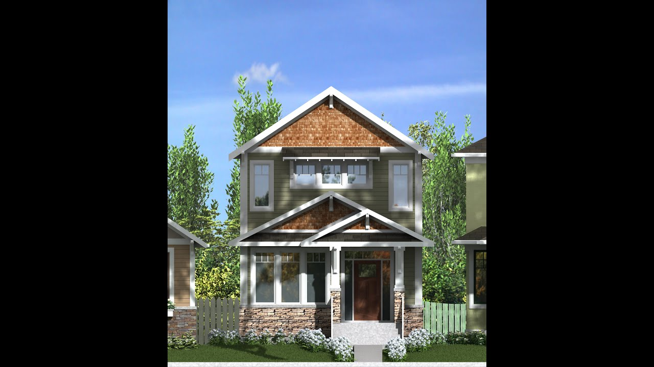 2 storey narrow lot home plans youtube for Skinny lot house plans