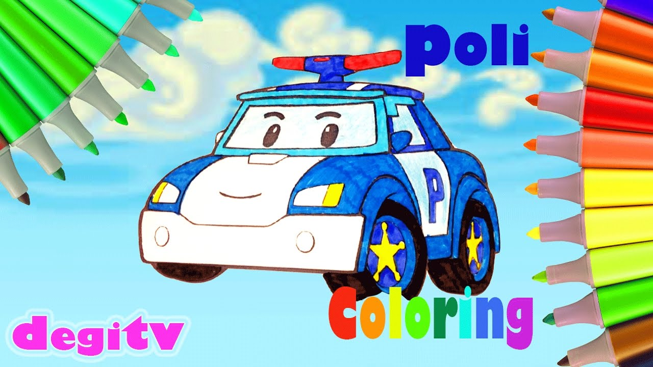 Robocar poli coloring book funny videos coloring page cartoon for kids