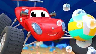 Детские мультфильмы с грузовиками Марти монстр трак АКУЛА должен достать свой мяч из моря