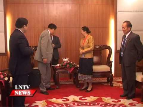 Lao NEWS on LNTV: President Choummaly Sayasone received the delegates of the 35th AIPA.18/9/2014