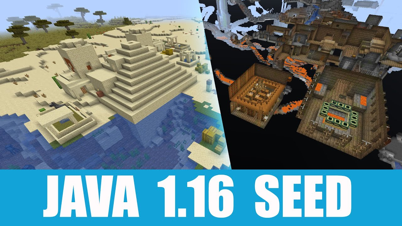 Minecraft Java 1 16 Seed Stronghold Spawns Right Under A Village With Desert Temple Youtube