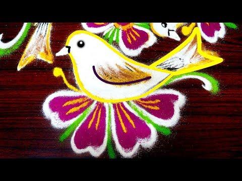 Birds kolam designs with 5x3 dots - simple rangoli art designs - creative muggulu designs for pongal