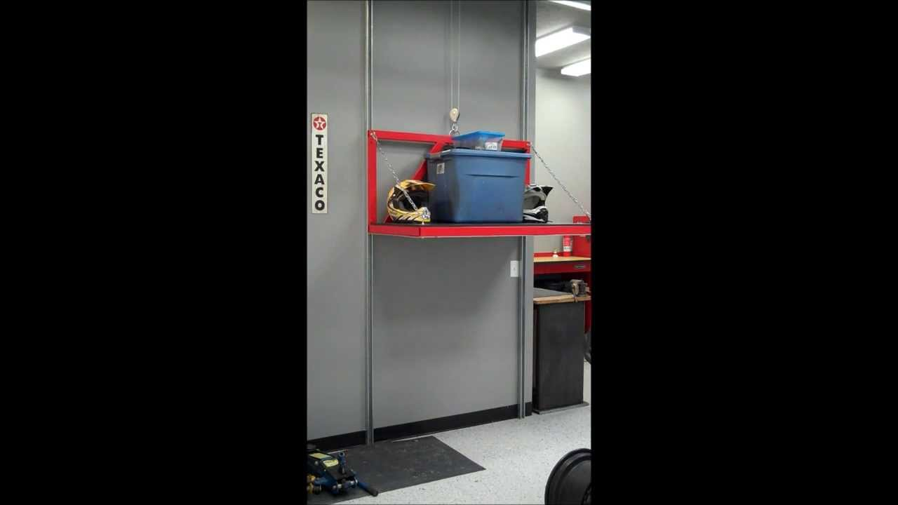 Garage attic storage lift elevator youtube for Garage elevator lift