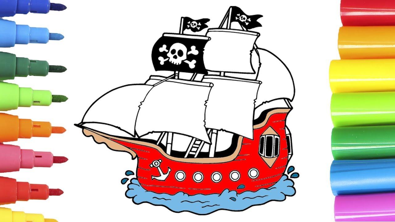 Coloreando barco pirata aprende los colores con dibujos - Imagenes de barcos infantiles ...