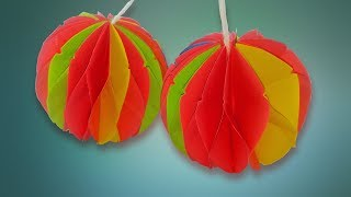 Paper Crafts How to make a Paper Honeycomb Ball Easy tutorial