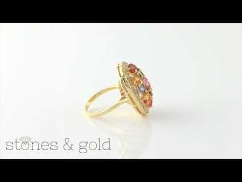 Multicolor Sapphire & Diamond Cluster Solid 14K Yellow Gold Cocktail Ring | SGR002007