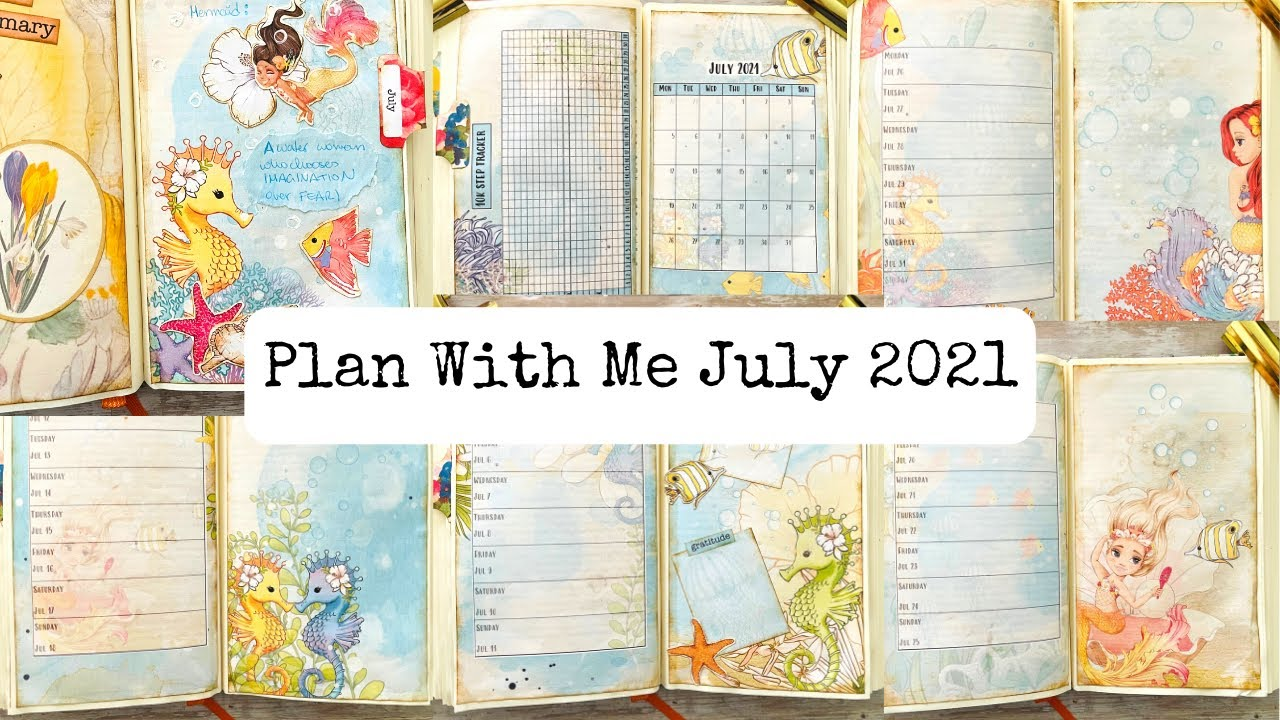 Plan with me July 2021/Bullet Junk Journal/Altered Book Planner/incl. Freebies!