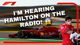 "Leclerc hears Hamilton on 𝗛𝗜𝗦 team radio?! 😂 ""WHAT'S HAPPENING?!""  