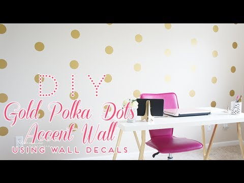 DIY Gold Polka Dots Accent Wall - using wall decals - YouTube