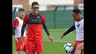 Liverpool training 5 things we noticed as Roberto Firmino sports protective gla sses   and is
