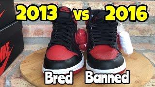 "Air Jordan 1 ""Banned"" ""Bred"" comparison 2013 vs 2016"