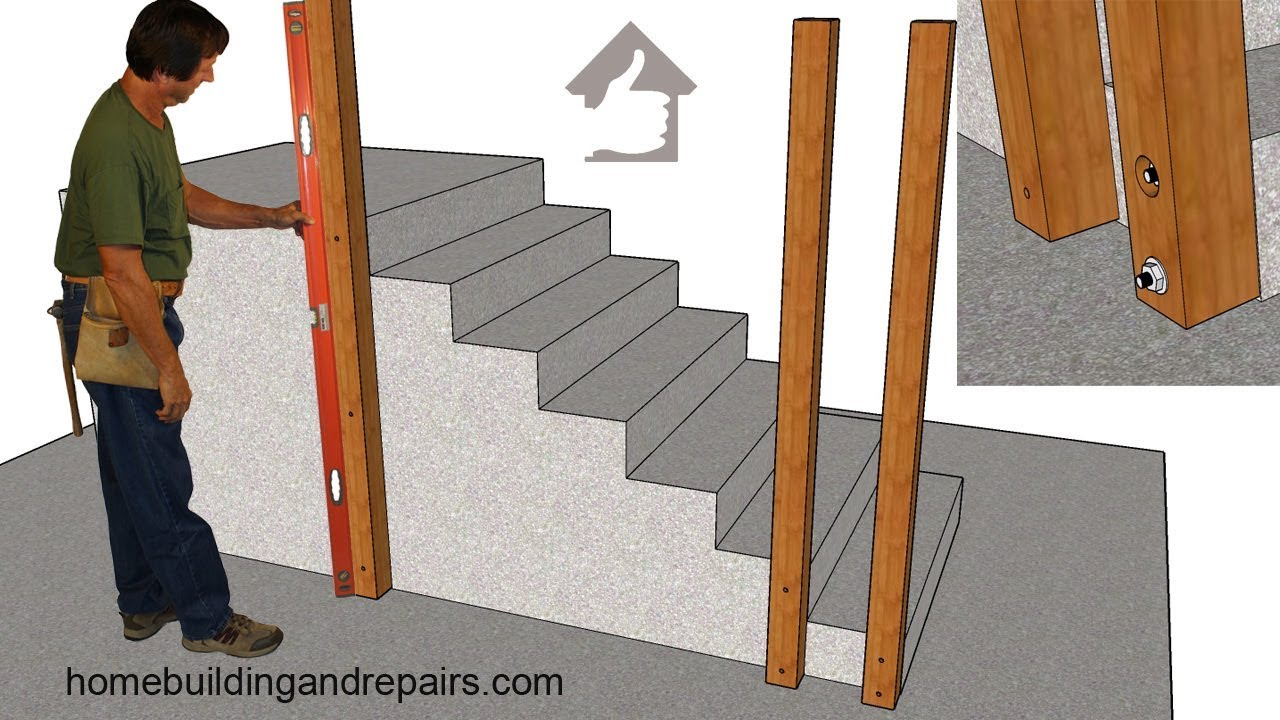 Bolting Wood Handrail Post To New Concrete Stairs Can Make | Wood Railing On Concrete Steps | Stair Railing | Diy | Wooden | Railing Mode | Staircase