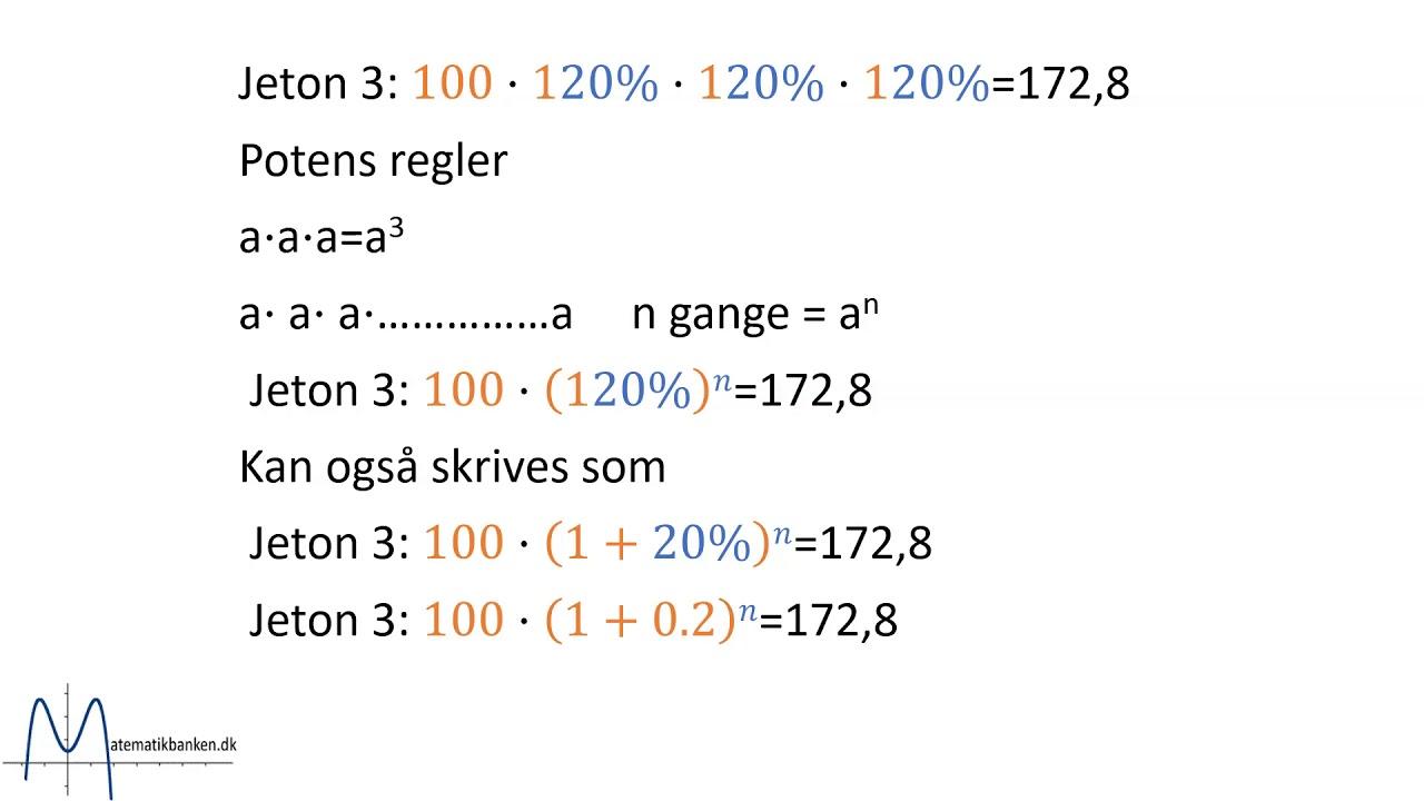 Beregning af rentes rente   gentagende beregninger til formel