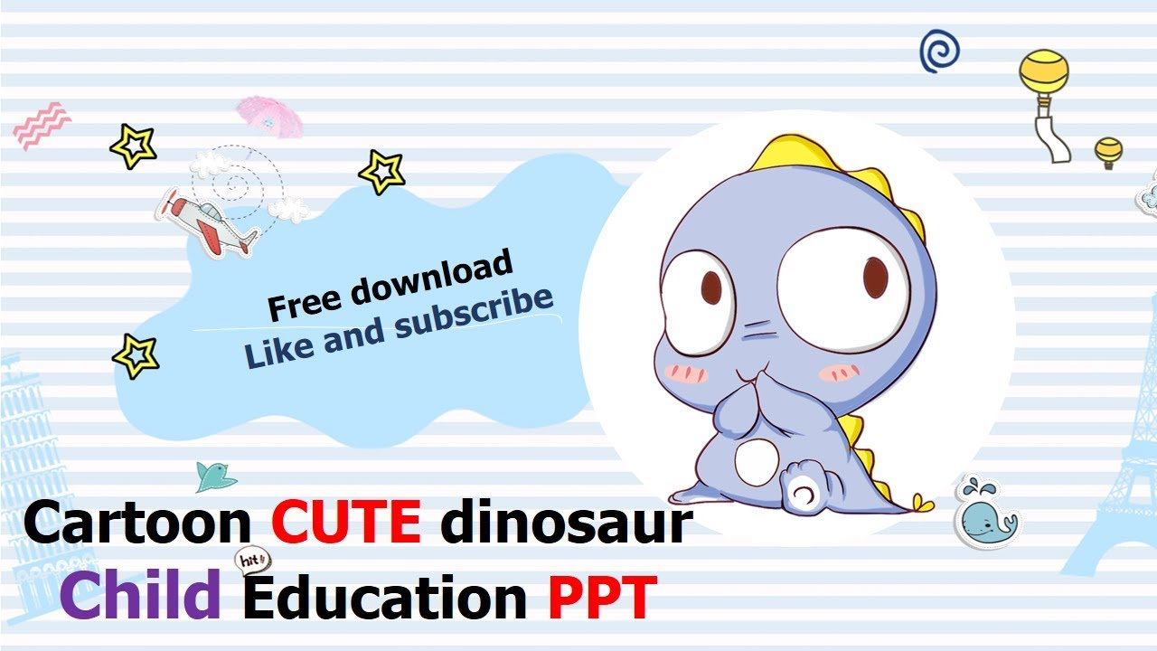 Cute cartoon little dinosaur template powerpoint free download cute cartoon little dinosaur template powerpoint free download toneelgroepblik Image collections