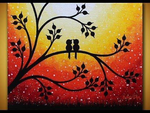 Love Birds In Sunset Acrylic Paiting Tutorial Valentines