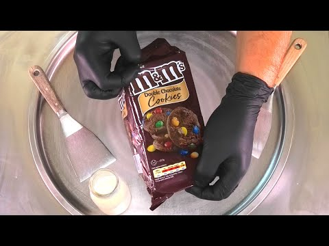 m&m Chocolate Cookies - Ice Cream Rolls | m&m's double Chocolate Cookies Ice Cream with mms | ASMR
