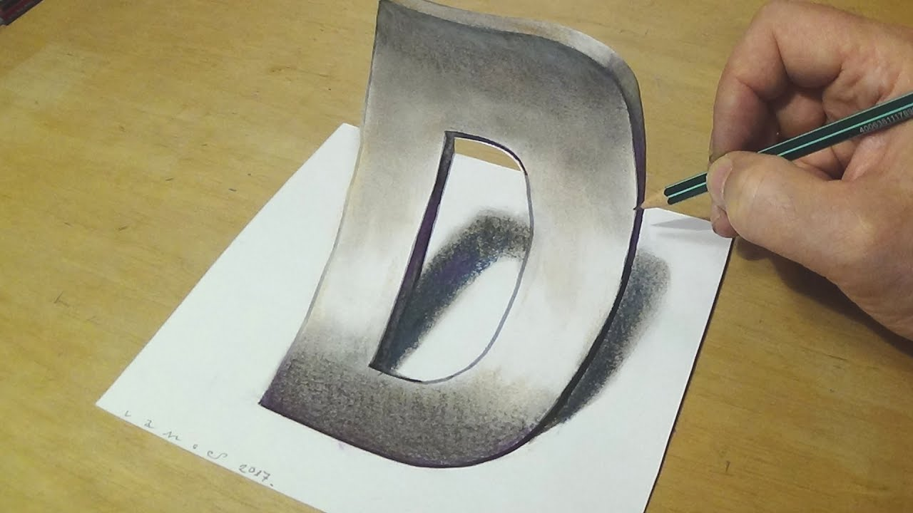 How to draw 3d letter trick art drawing anamorphic illusion for kids adults
