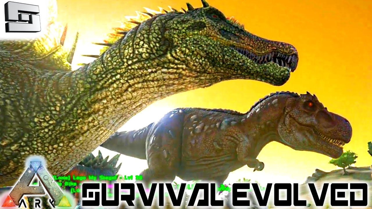 ark survival evolved tamed a trex and spinosaurus e13 gameplay