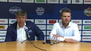 Trenéři Kamil Pokorný a Václav Varaďa po utkání Kometa - Třinec 5:4sn (8. 9. 2017)