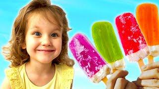 Erika pretend play eating ice cream