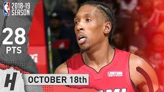 Josh Richardson Full Highlights Heat vs Wizards 2018.10.18 - 28 Points, CLUTCH!