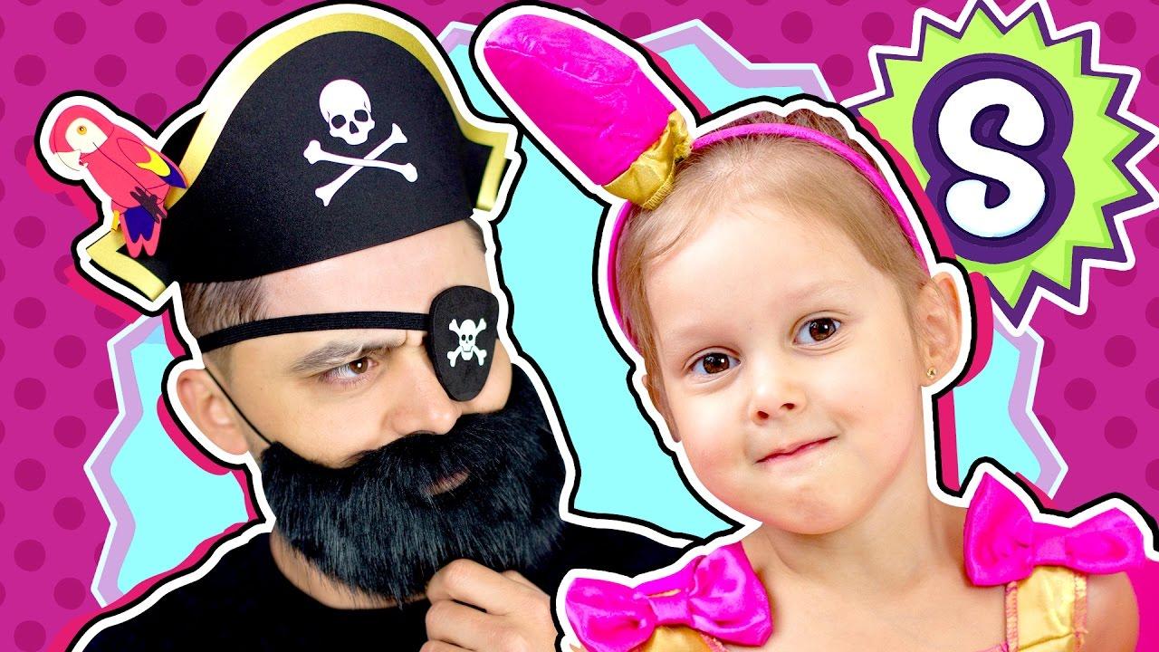 ПИРАТЫ Добрый Пират стал Шопкинсом Помадка  Злой Продавец Shopkins Меняет на Бороду Очки и Корону