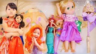 変身ごっこ なりきり ディズニープリンセス魔法の杖 Funny kids Dress up Disney princess magic cane | Hane&Mari'sWorld