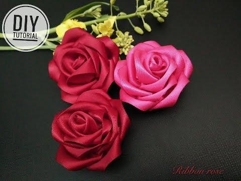 Tutorial Cara Membuat bungadari pita satin- how to make a rose satin ribbon #1