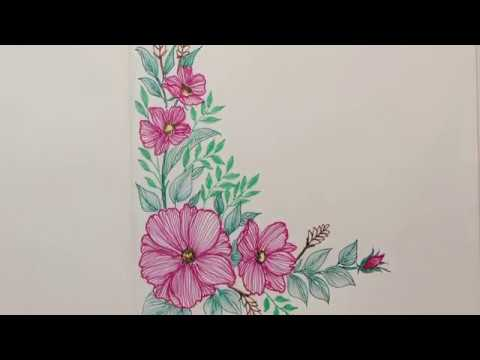 Flower Corner Border Design How To Draw Flower Border Design
