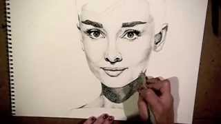 Audrey Hepburn speed drawing (pointillism) | maddieweyman