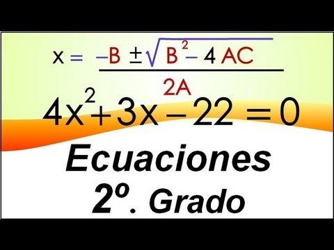 Ecuaciones de Segundo Grado por Fórmula General